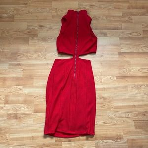 Dresses - Red Cut Out Dress